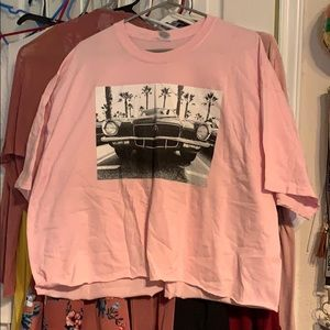 Pink loosely fit graphic crop top